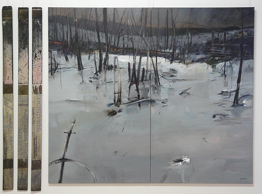 Black Saturday IV, V, 230cm w x 180cm h, mixed media on canvas, & found timber